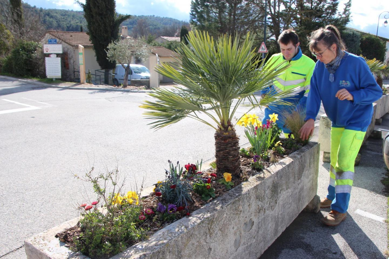Une des soixante et onze jardinières fleuries grâce aux bulbes plantés en amont.