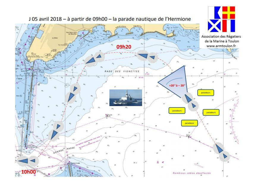 L'association des régatiers de la Marine a d'ores et déjà prévu le parcours de la parade nautique qui doit accueillir, jeudi, l'Hermione. Dans deux jours, la silhouette de la frégate apparaîtra au large et longera les plages du Mourillon.(Repro DR)
