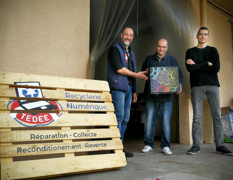 Philippe, Charlie et Thomas: les chevilles ouvrières du réseau Tedee qui a traité 20 tonnes de matériel informatique en 2017.