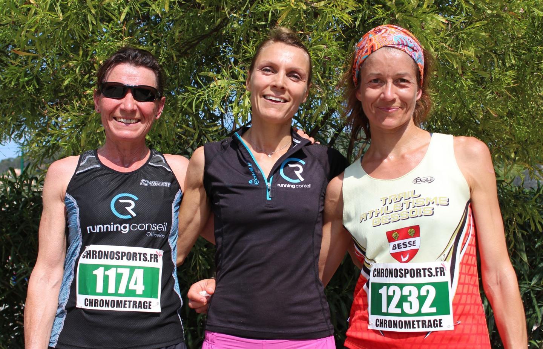 Le podium féminin :  Marie-Pierre Hoffmann,  Isa Kujawski et Karine Gonnet (de g. à d.).
