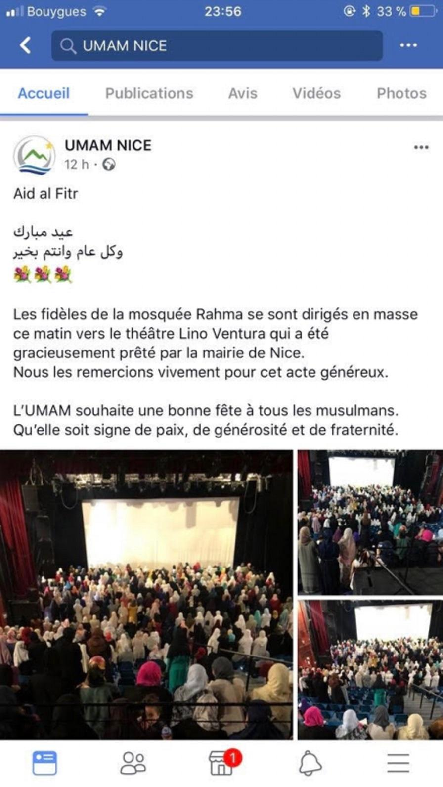 Le message de remerciement posté à l'origine par l'Umam et une photo de la prière sur le parking diffusée, elle aussi, sur la page Facebook de cette organisation musulmane.(D. R.)