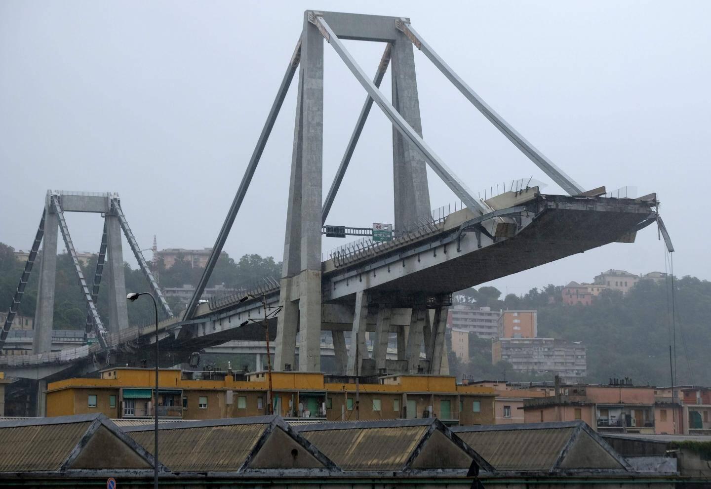 Le pont à haubans Morandi après son effondrement le mardi 14 août 2018.
