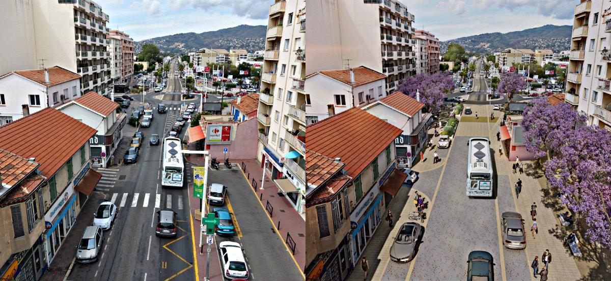 A gauche, l'avenue Francis Tonner de nos jours. A droite, une rénovation sur 880m qui donnera une vraie bouffée d'air frais.