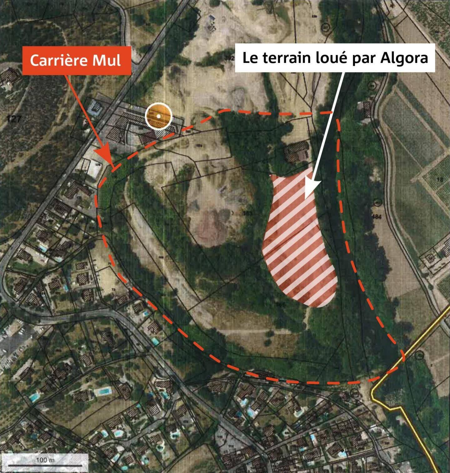Vue aérienne du terrain où la société Algora projetait de s'installer.