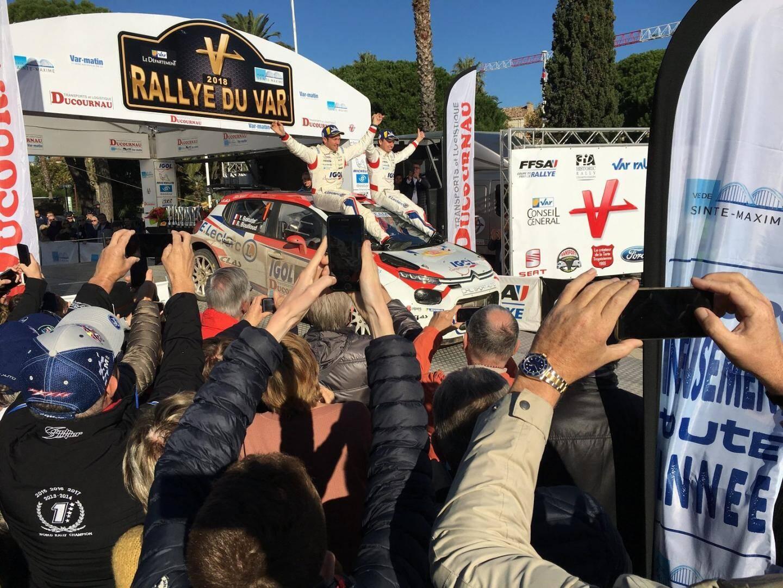 Vainqueurs du Rallye du Var et sacrés champions de France 2018, Yoann Bonato et Benjamin Boulloud.
