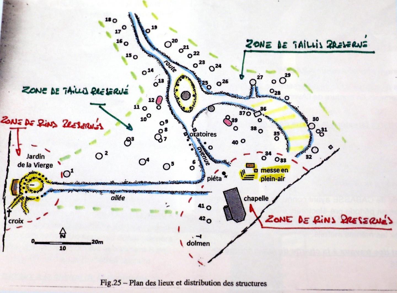 Les demandes de préservation du site par la municipalité, dressées sur un plan.