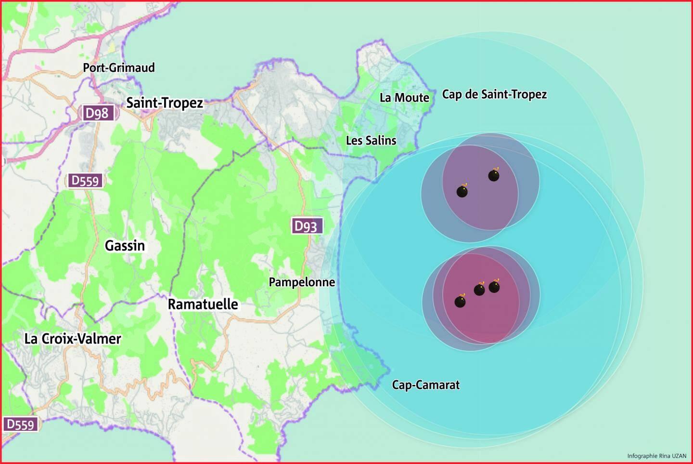 Cinq bombes ont été repérées à 3 kilomètres au large des côtes, dans un périmètre allant de Cap Camarat à la Moutte. Elles seront neutralisées entre lundi et jeudi. L'une des bombes à neutraliser est une mine à orin.