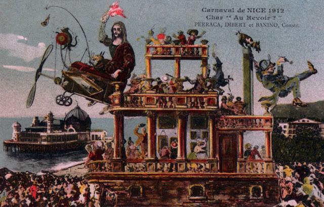 Le char Au Revoir La Joconde en 1912. L'œuvre dérobée l'année précédente n'a toujours pas été retrouvée.