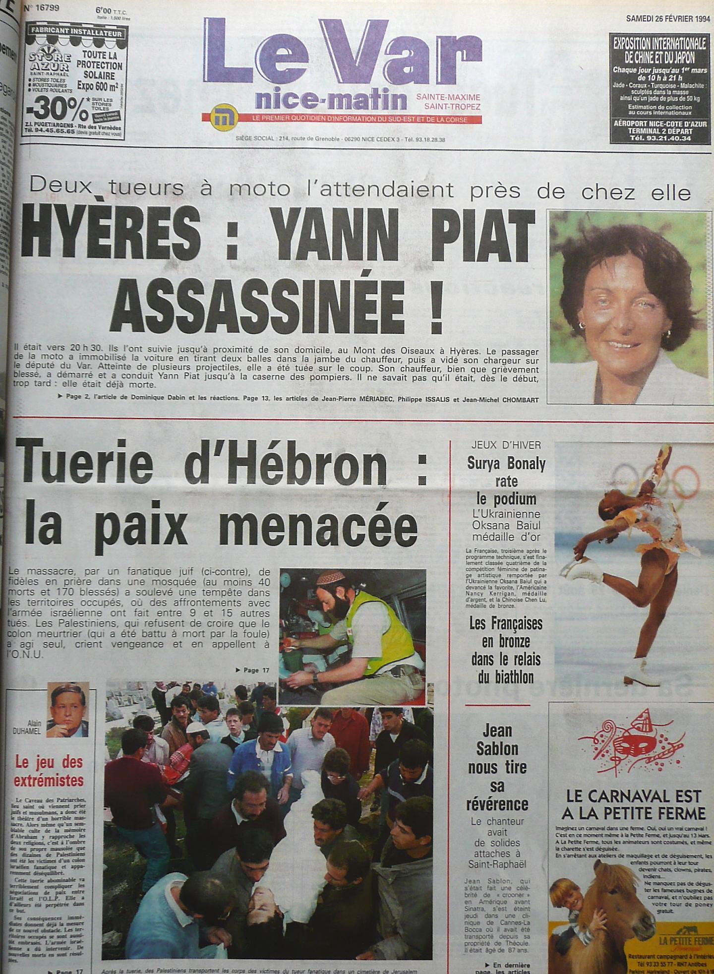 La Une de Var matin du samedi 26 février 1994.