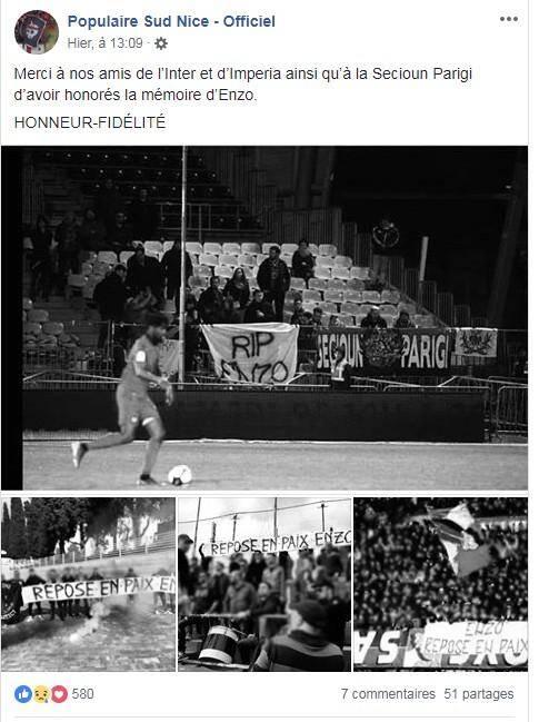 Des hommages ont été rendus à Enzo dans différents stades.