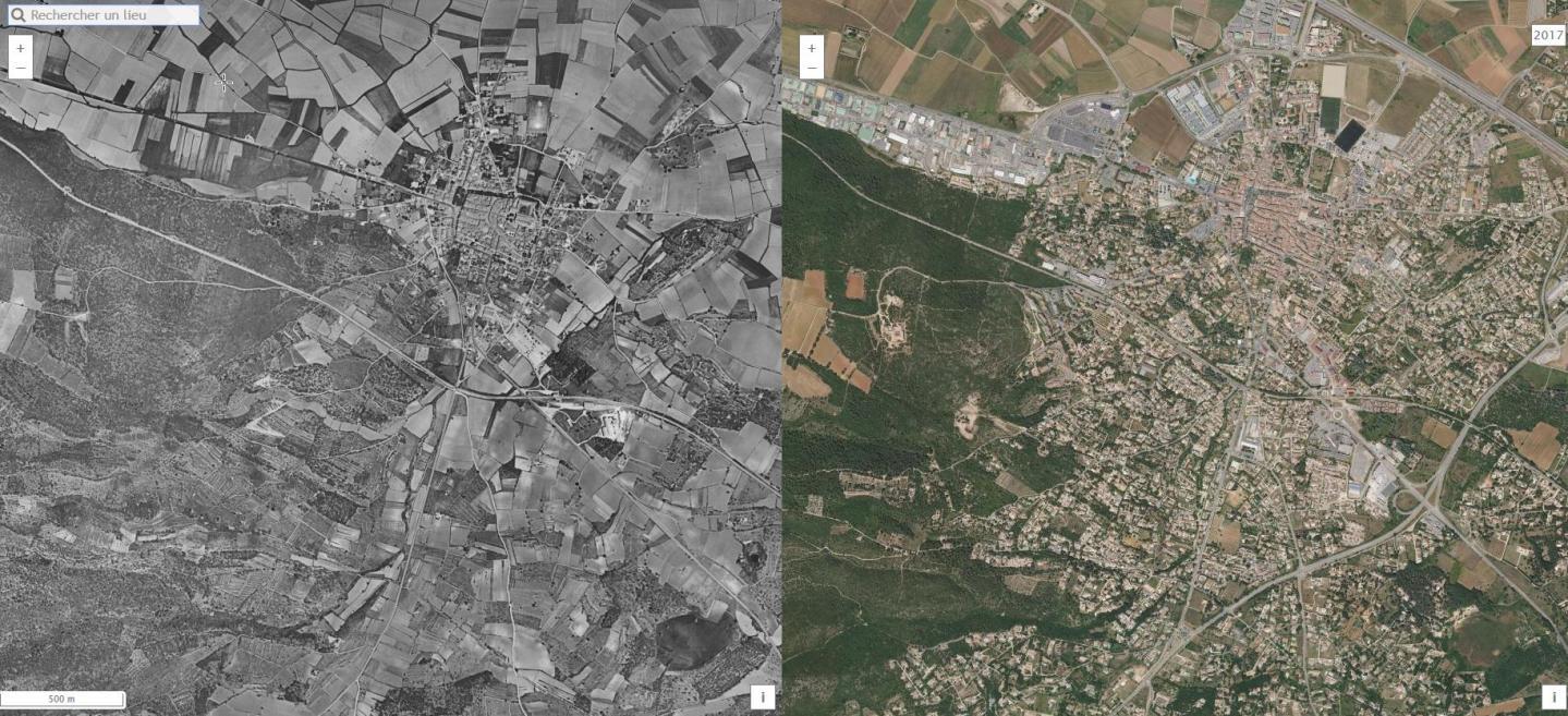 Saint-Maximin, un exemple pris par la Safer : à gauche en 1960, à droite en 2017. L'urbanisation a gagné  les terres les plus fertiles. (Doc Safer)