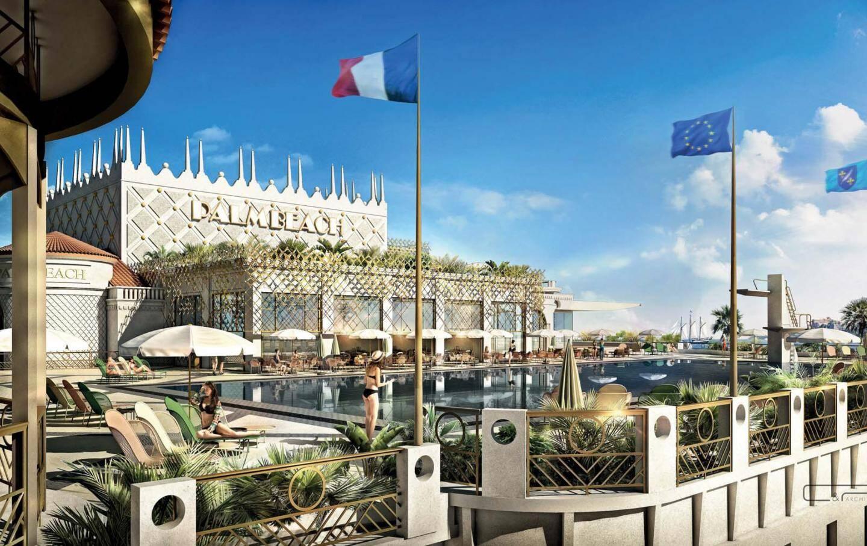 En haut, le futur Palm Beach tel qu'en rêve Patrick Tartary, avec la volonté de renouer avec son prestige et son style du passé (en bas).