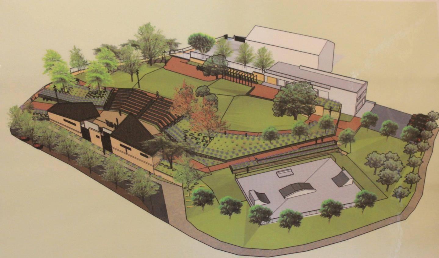 Voici le futur théâtre de verdure, comme repères la médiathèque en haut et le skatepark à droite.