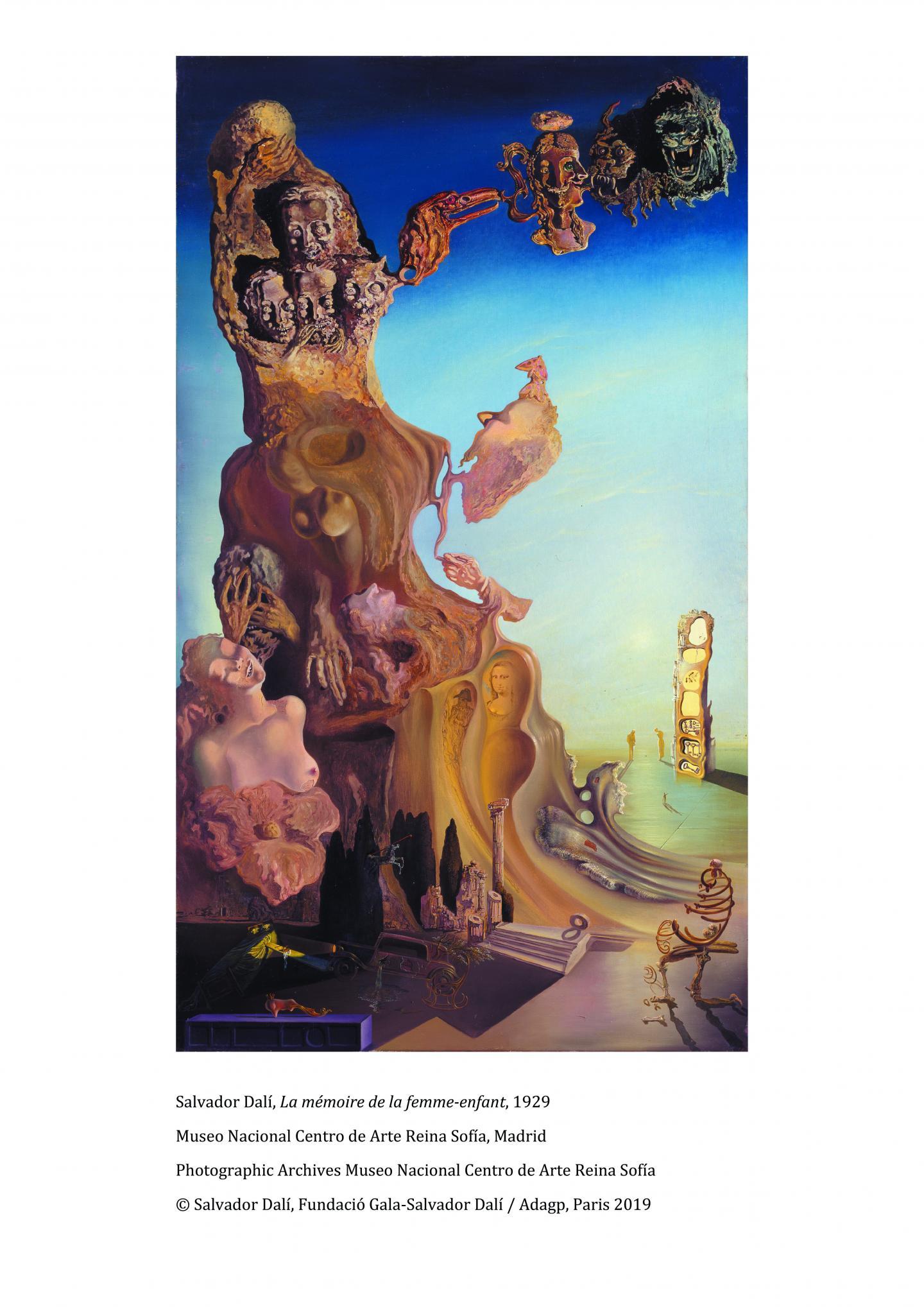 La mémoire de la femme enfant. (Reproduction Salvador Dali Fundacio Gala-Salvador Dali)