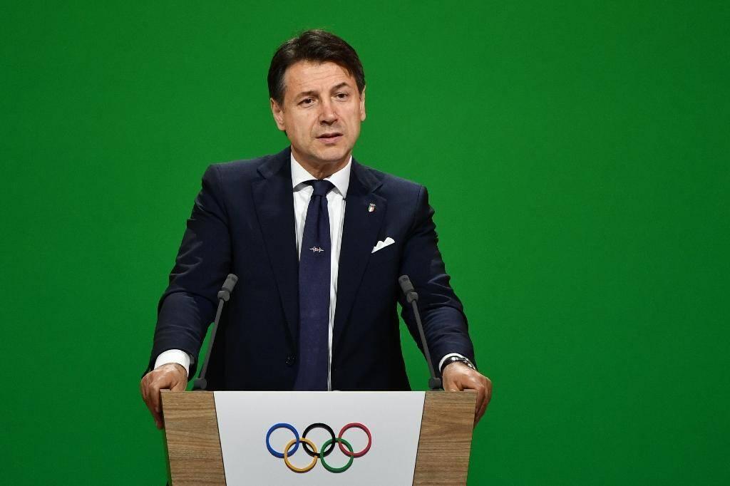 Le Premier ministre italien Giuseppe Conte défendant la candidature de Milan/Cortina d'Ampezzo auprès de la 134e session du CIO à Lausanne, le 24 juin 2019