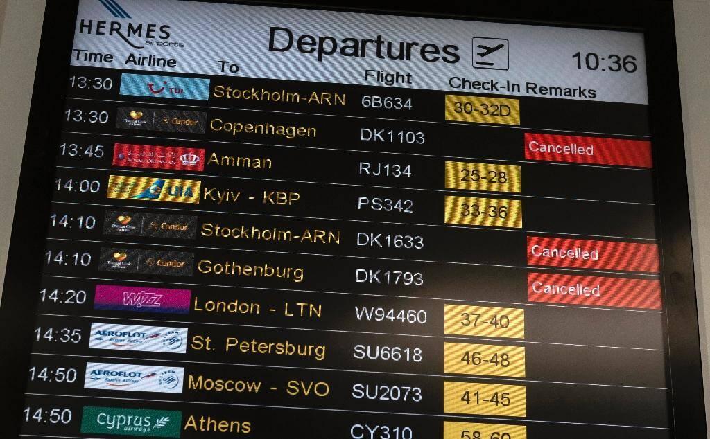 Les vols annulés du voyagiste britannique Thomas Cook à l'aéroport de Larnaca (Chypres) le 23 septembre 2019