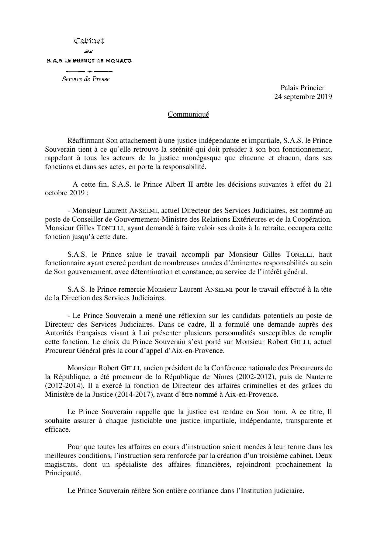 Un communiqué envoyé en exclusivité à Monaco-Matin.