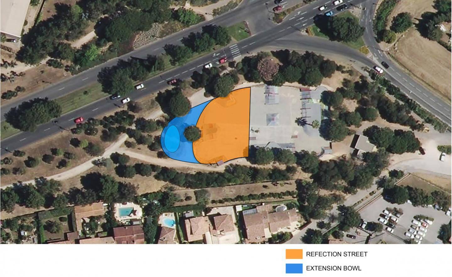 Le projet prévoit la réfection de l'existant (en orange) et l'extension avec la création d'un « bowl » (en bleu), comme l'a indiqué hier le maire, lors du 20e anniversaire du skate park.