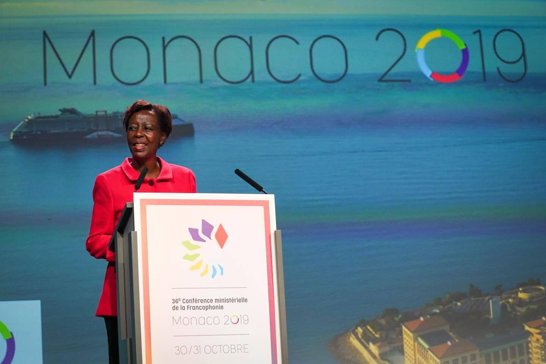 Louise Mushikiwabo, secrétaire générale de la Francophonie, à la tribune.