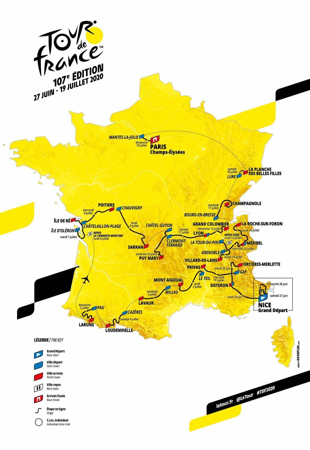 Tour de France parcours 2020