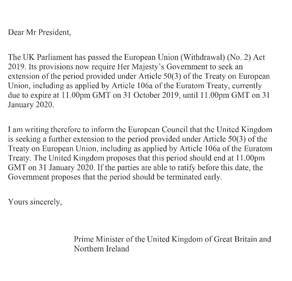 Capture d'écran de la lettre envoyée par le Premier ministre britannique Boris Johnson au Conseil européen
