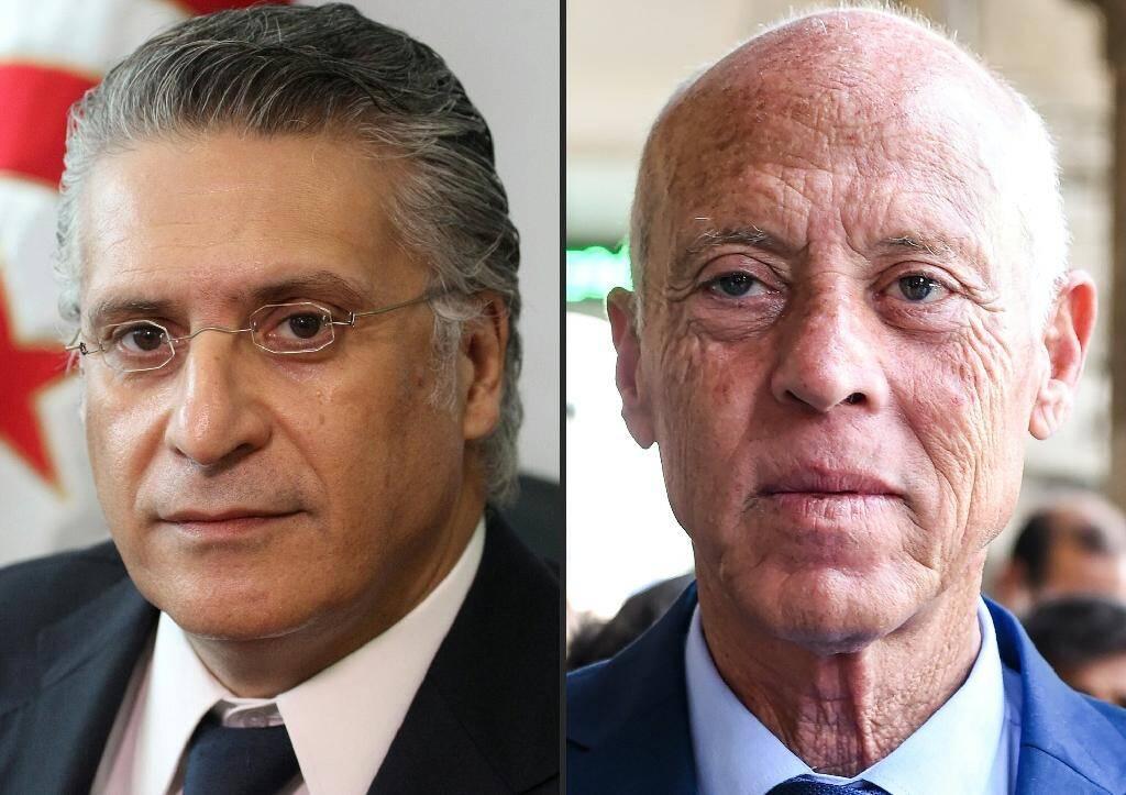 Nabil Karoui (à gauche) et Kais Saied, les deux candidats à la présidentielle en Tunisie, photographiés respectivement le 2 août et le 10 septembre à Tunis.