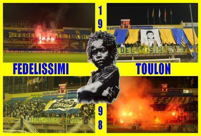 Photomontage des tifos de Fedelissimi, groupe de supporters ultras toulonnais.