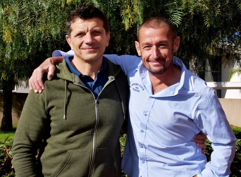 Le nouveau coach Franck Alazé (à gauche) et le président Olivier Cavatore (à droite).