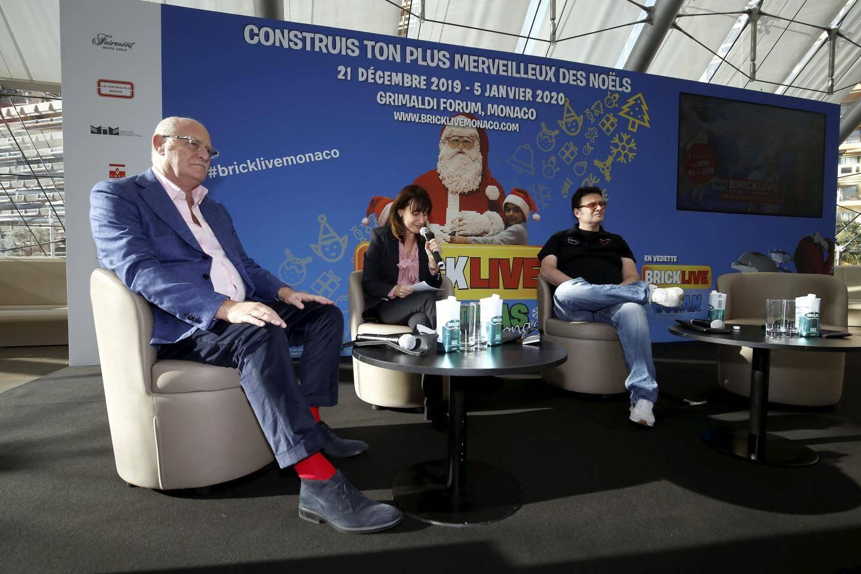 De gauche à droite : David Ciclitira, créateur de BrickLive, Sylvie Biancheri, directeur général du Grimaldi Forum; et Gildo Pastor, fondateur de Venturi.