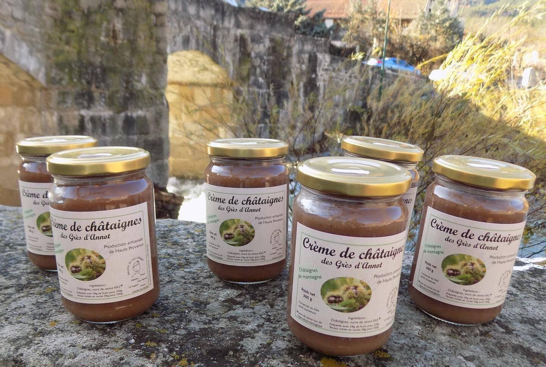 Les pots de crème de châtaignes des Grès d'Annot à consommer sans modération.
