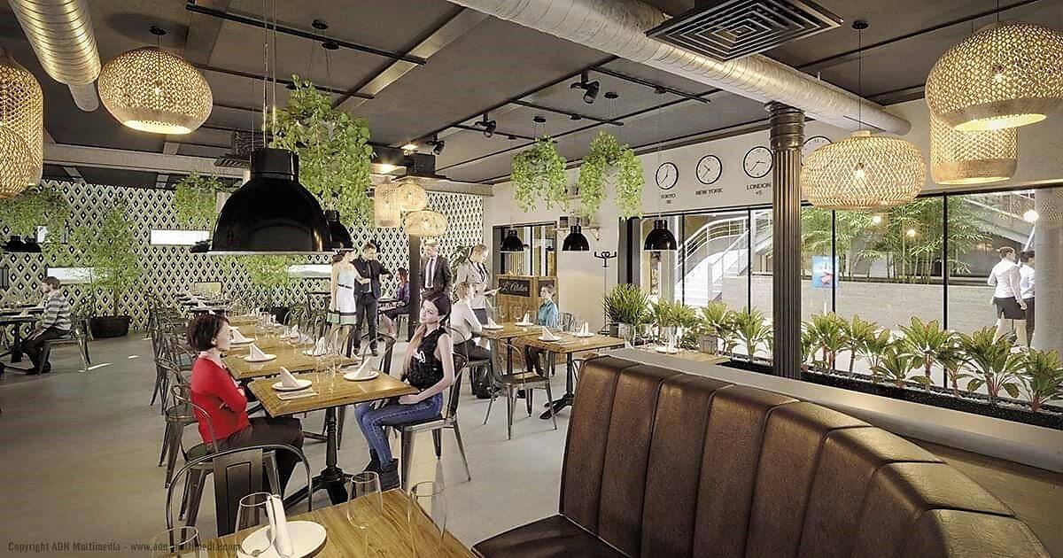 L'ensemble, sur deux niveaux d'activités plus un rez-de-chaussée avec parking sécurisé, sera, entre autres, composé d'un espace restaurant.