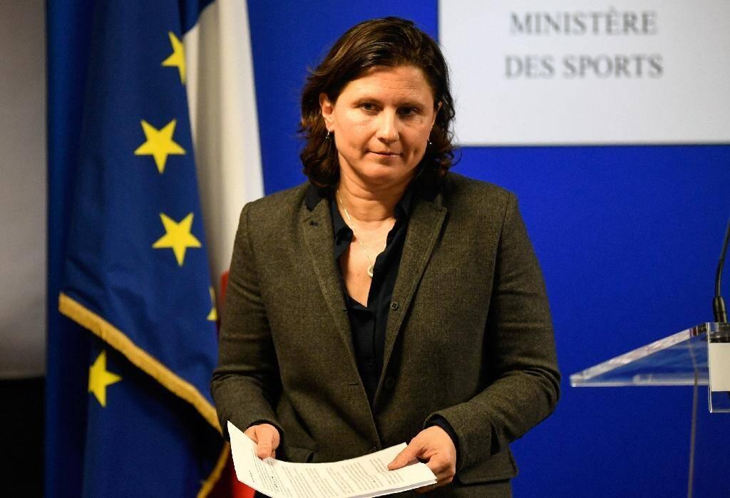 La ministre des Sports Roxana Maracineanu, lors d'une conférence de presse le 3 février 2020 à Paris, après un entretien avec le président de la Fédération des Sports de glace, Didier Gailhaguet