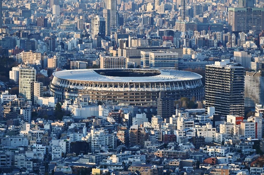 Le Stade olympique de Tokyo flambant neuf, qui accueillera désormais les JO l'année prochaine, le 25 mars 2020 à Tokyo