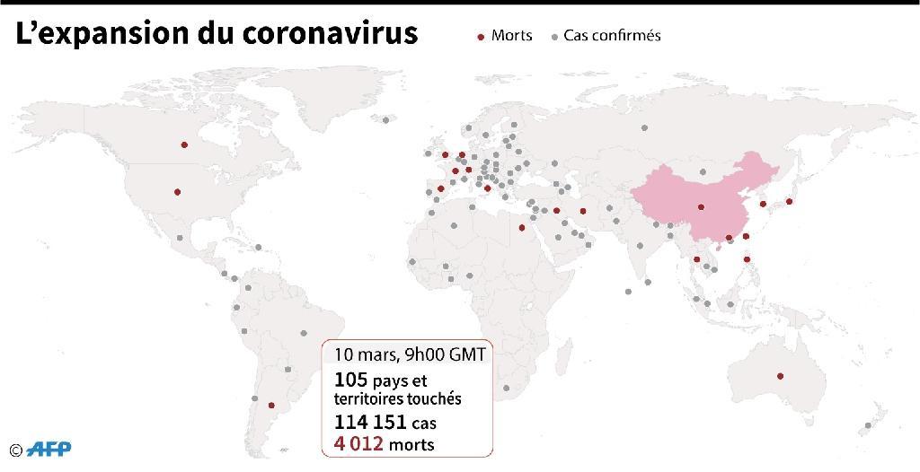 Pays et territoires comptant des cas confirmés de nouveau coronavirus, au 10 mars à 9h GMT
