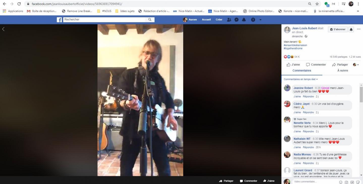 Jean-Louis Aubert, en live, dimanche sur Facebook.
