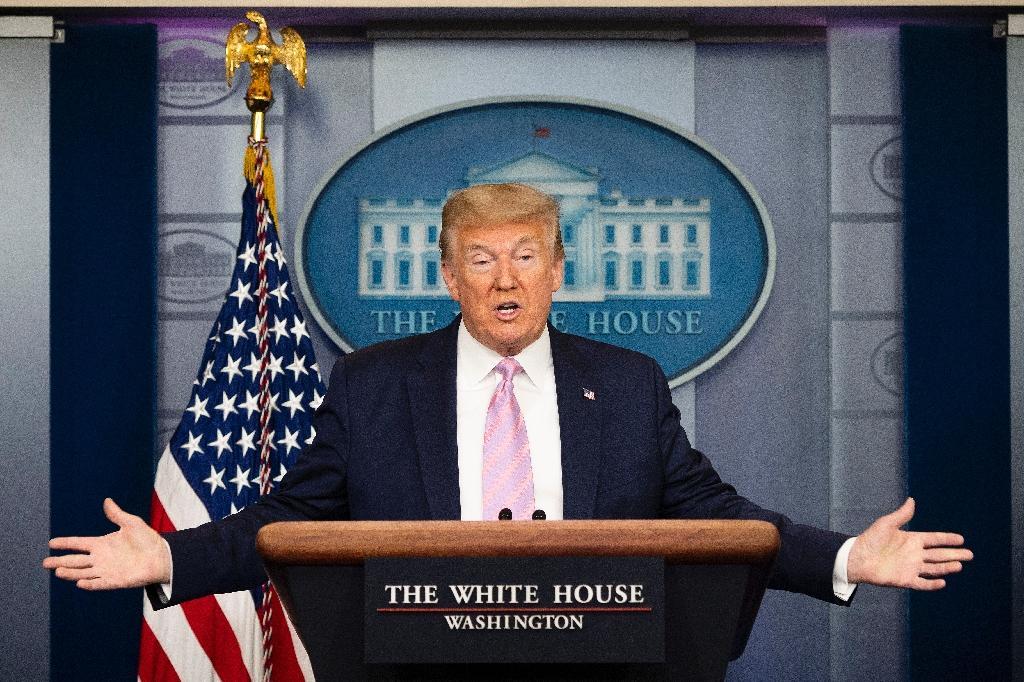 Le président américain Donald Trump lors de son point quotidien sur la pandémie de Covid 19, le 10 avril 2020 à Washington