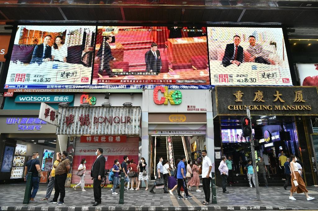 Le président chinois Xi Jinping sur un écran géant dans une rue de Hong Kong, le 28 mai 2020