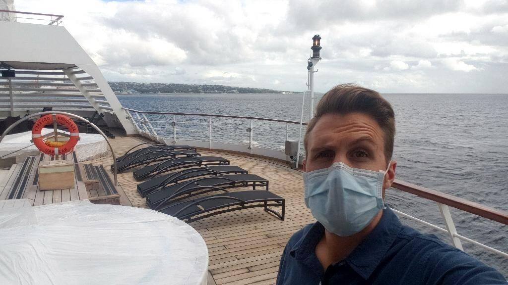 """Photo non datée transmise le 15 mai 2020 par l'Américin Ryan Driscoll bloqué sur le bateau de croisière """"Seabourn Odyssey"""", immobilisé près de la Barbade"""