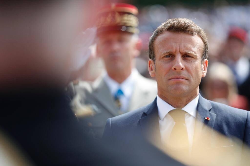 Le président Emmanuel Macron lors d'une cérémonie marquant le 79e anniversaire de l'appel du 18 juin, au Mont Valérien le 18 juin 2019