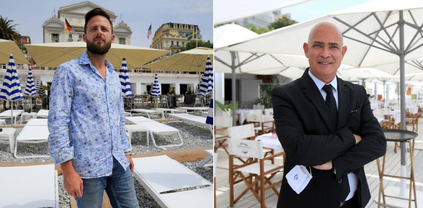 A gauche: Nicolas Maiffret (Opéra Plage à Nice): beaucoup d'espaces complètement rénovés en attente d'une clientèle enfin retrouvée.A droite: Michaël Amar (Beau Rivage à Nice): directeur d'une concession revisitée dans l'ambiance Riva et dolce vita à l'italienne.