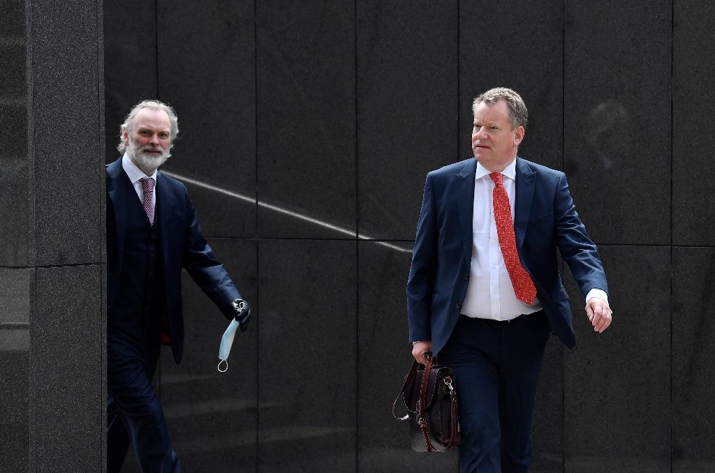 Le négociateur britannique pour le Brexit David Fros (à droite) à Bruxelles, le 29 juin 2020
