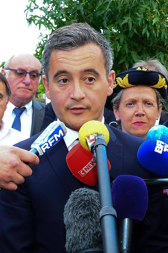 Le ministre de l'Intérieur Gerald Darmanin, à Port-Sainte-Marie (Lot-et-Garonne) le 7 juillet 2020