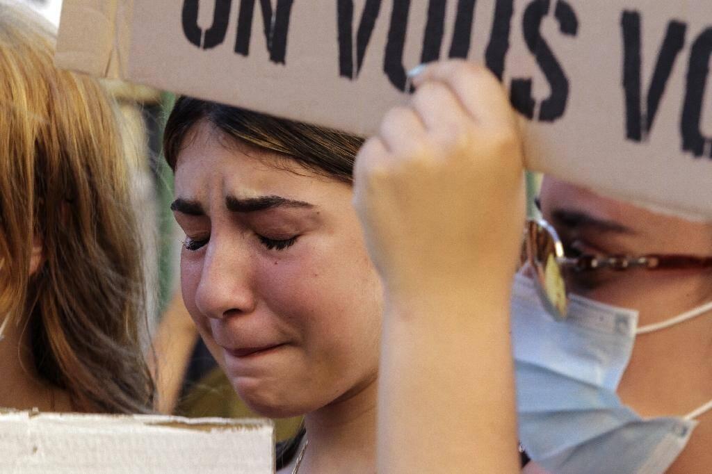 Une manifestante à Ajaccio, le 5 juillet 2020