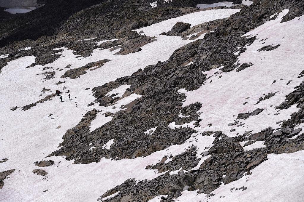 Vue aérienne de la neige rose du glacier Presena, dans les Alpes italiennes, le 4 juillet 2020.