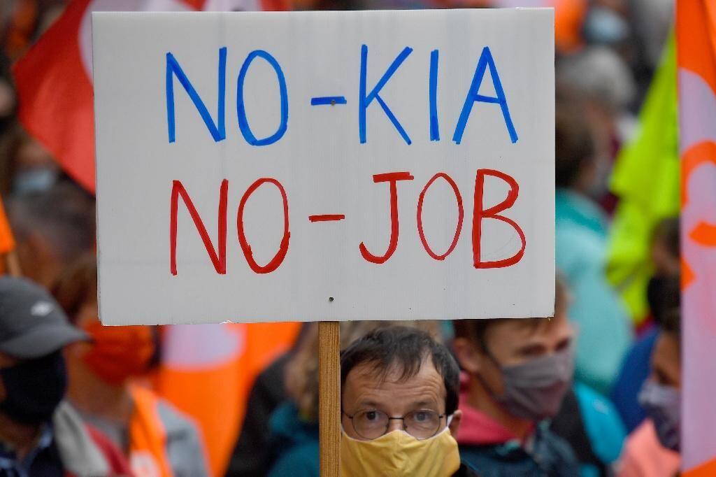 Manifestation de salariés de Nokia à Lannion, en Bretagne, le 4 juillet 2020