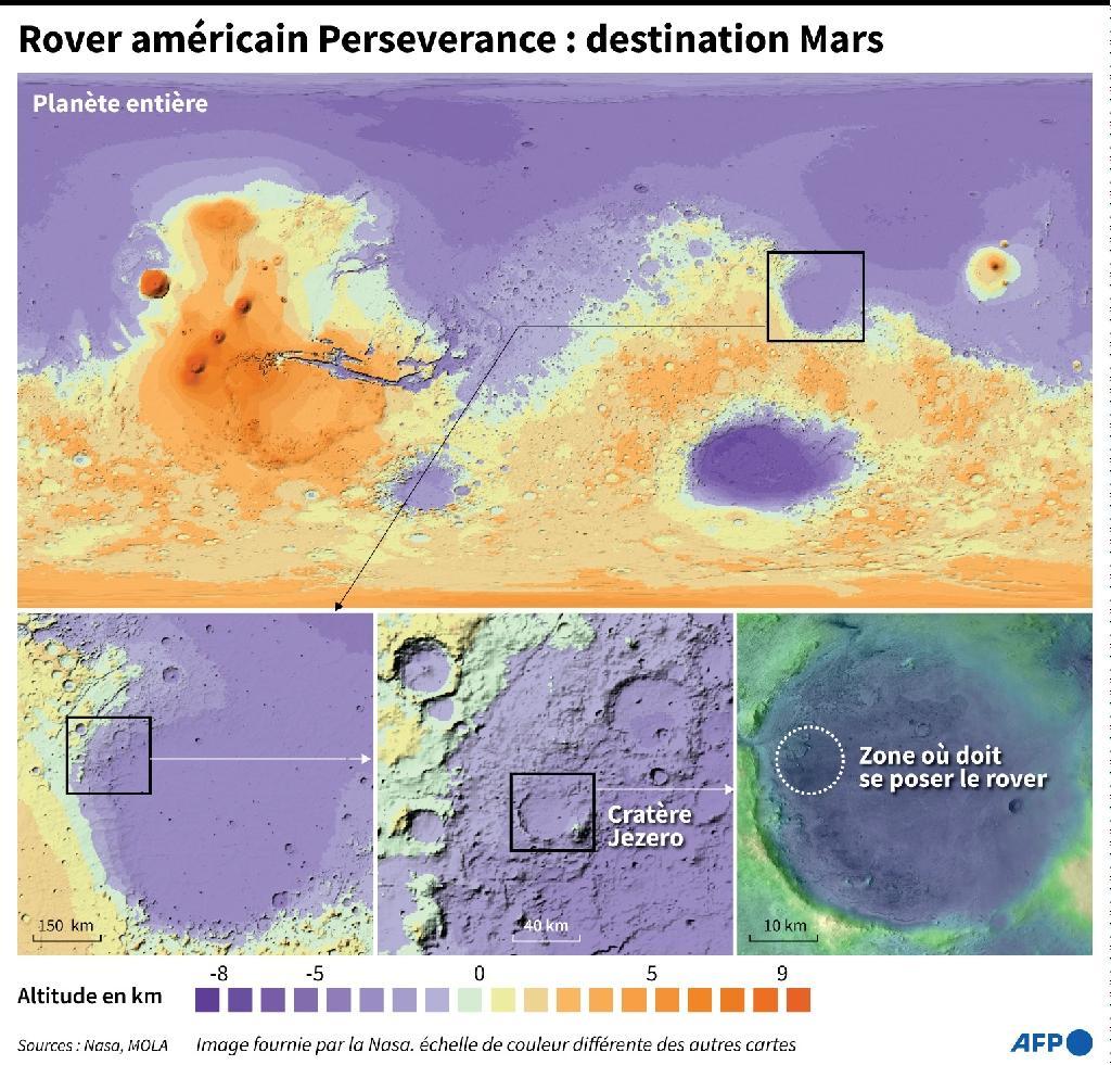 Carte topographique de Mars localisant la zone où doit se poser le Rover américain Perseverance