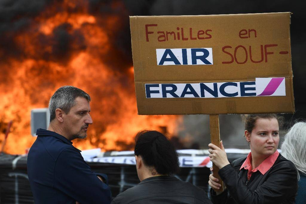 Manifestation de salariés de Hop!, la filiale à bas coûts de Air France, à Morlaix (Bretagne), le 8 juillet 2020