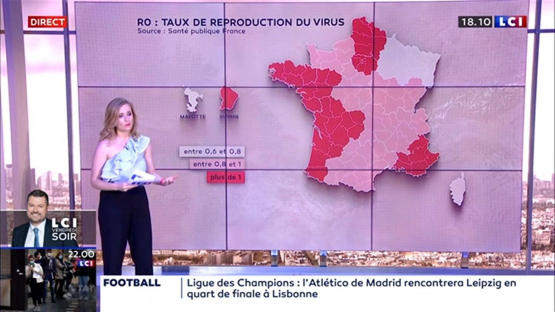 La chaîne LCI a montré cette carte de France, montrant un découpage par départements et non plus seulement par régions.
