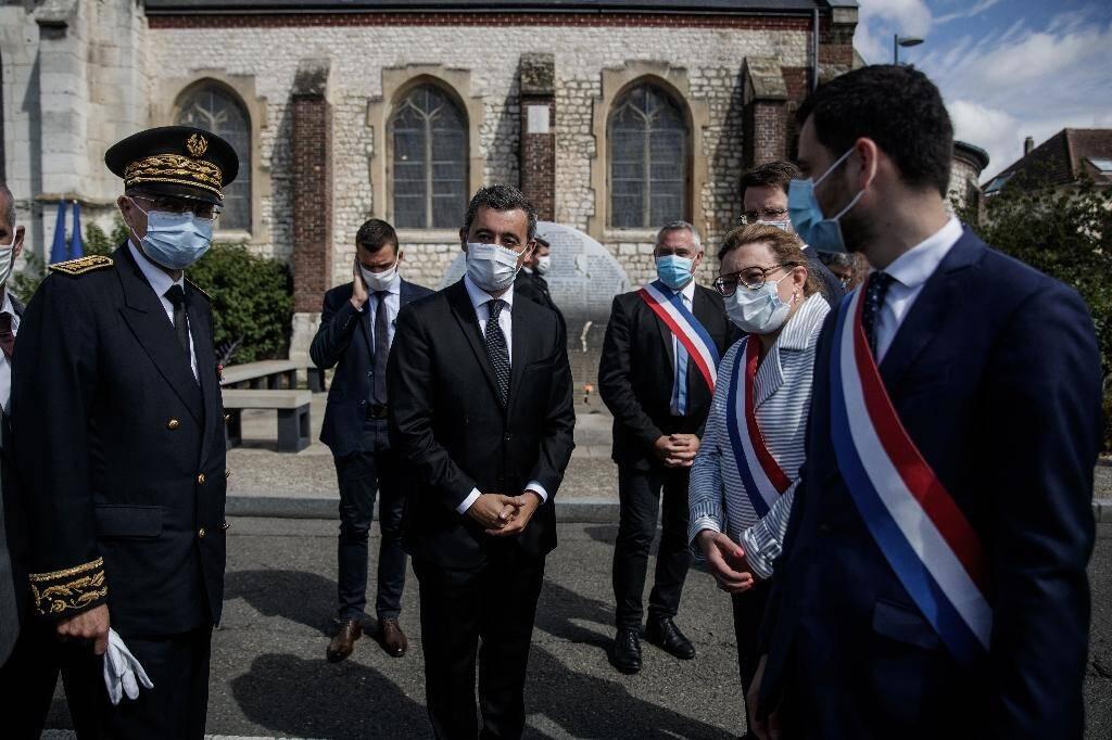 Le ministre de l'Intérieur Gérald Darmanin venu rendre hommage au père Hamel, assassiné il y a quatre ans à Saint-Étienne-du-Rouvray, le 26 juillet 2020