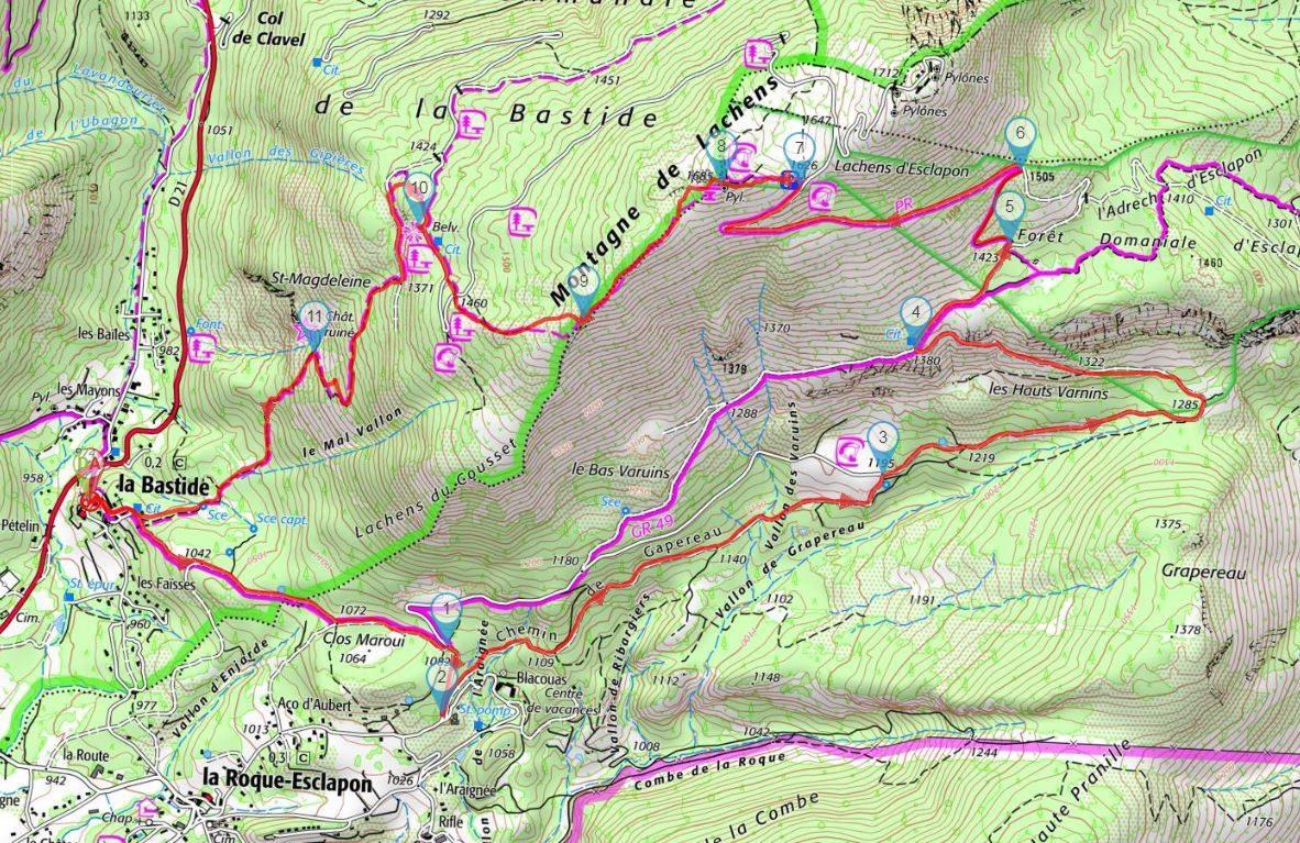 Plan de la balade au Mont Lachens.